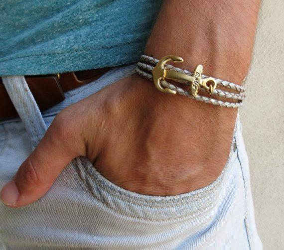 Men/'s Jewelry Men/'s Bracelet Men/'s Anchor Bracelet Boyfriend Gift Men/'s Leather Bracelet Present For Men Husband Gift