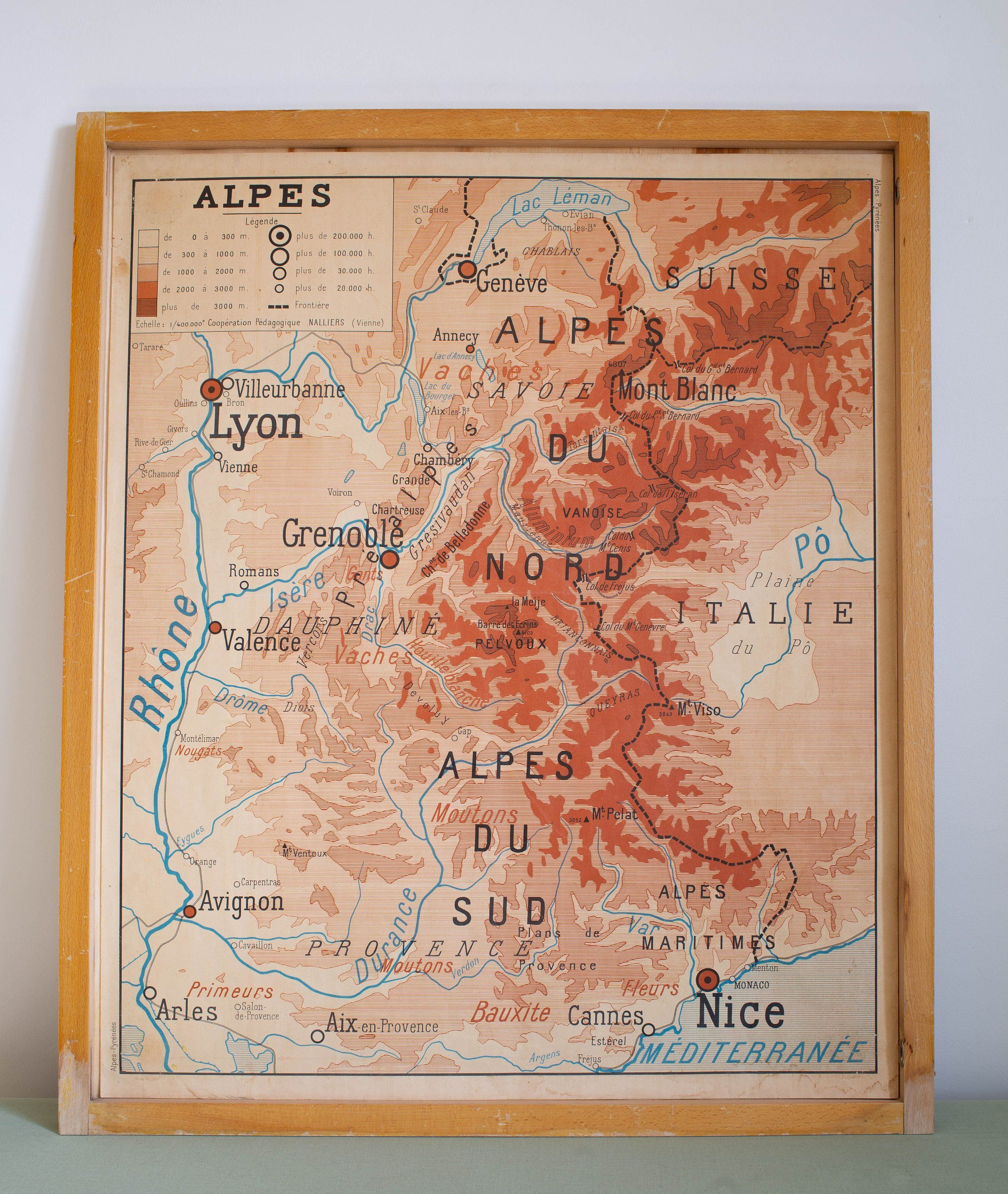Rare Provence Map Geography Vintage Large Stunning French