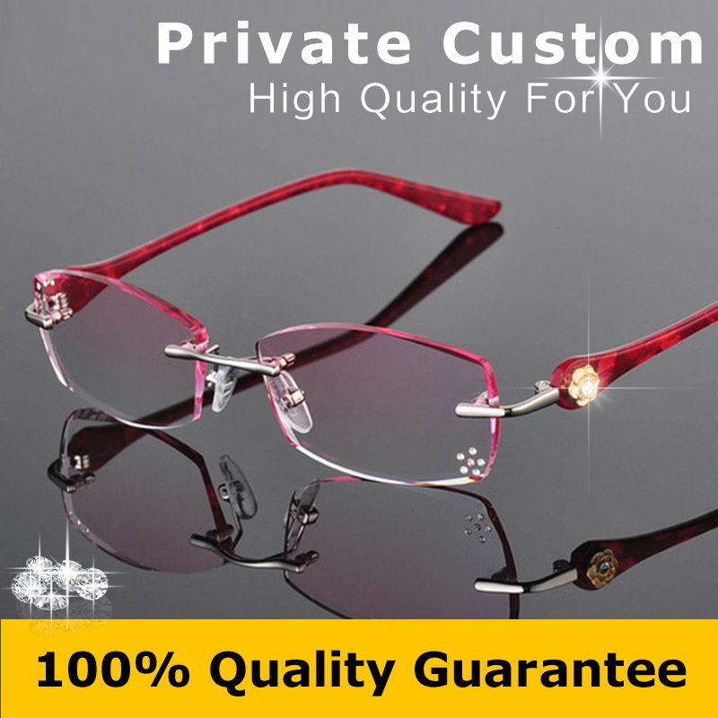 ef508e4ccb3 Women Fashion Glasses Rimless Eyeglasses Frame Diamond Decorations Optical  Frame Reading Glasses Myopia Personal Customized 616