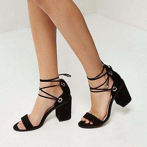 Black tie-up block heel sandals - high heels - shoes / boots - women
