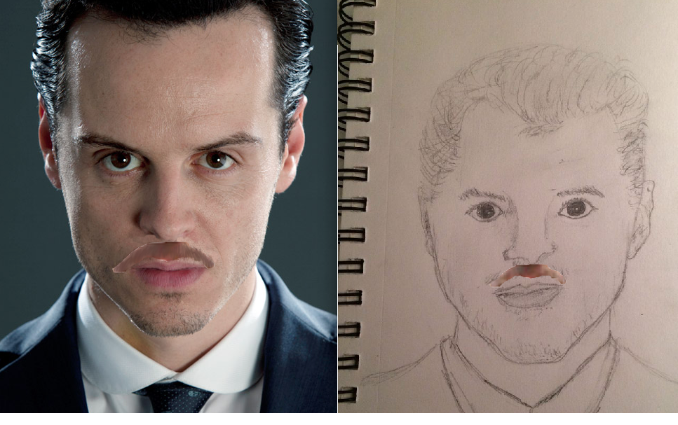 Moriarty with a John Moustache! (Drawing and Original)