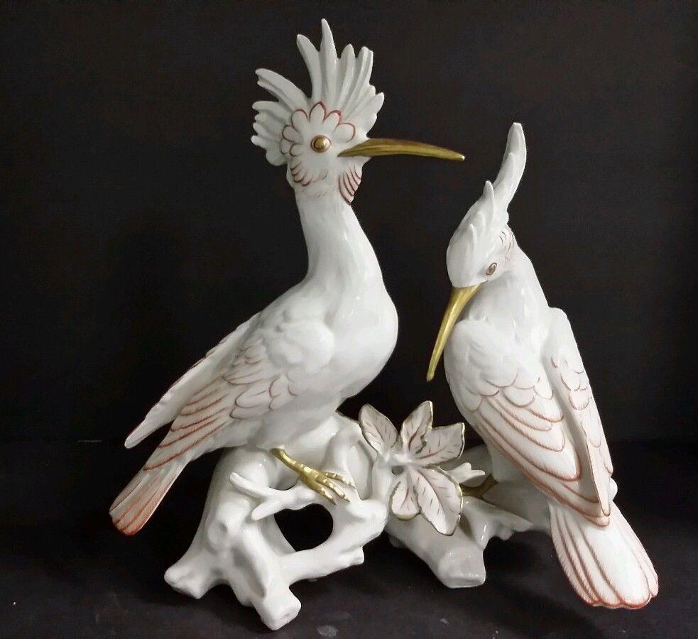 Антикварные фарфоровые фигуры птиц фото