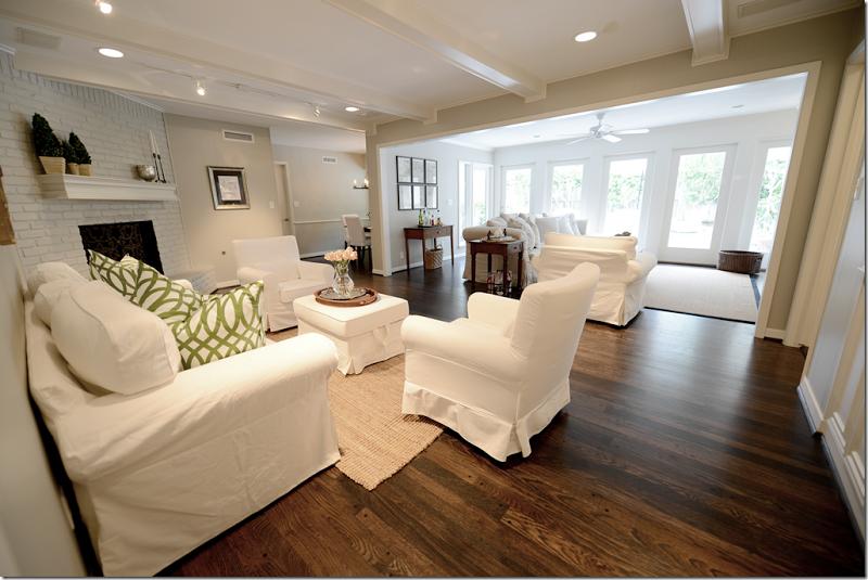 surprising white living rooms dark wood floors | Love all of the white against the dark hardwood floors ...