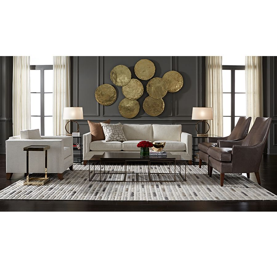 Dark gray walls with gold accents mitchell gold bob - Gold rugs for living room ...