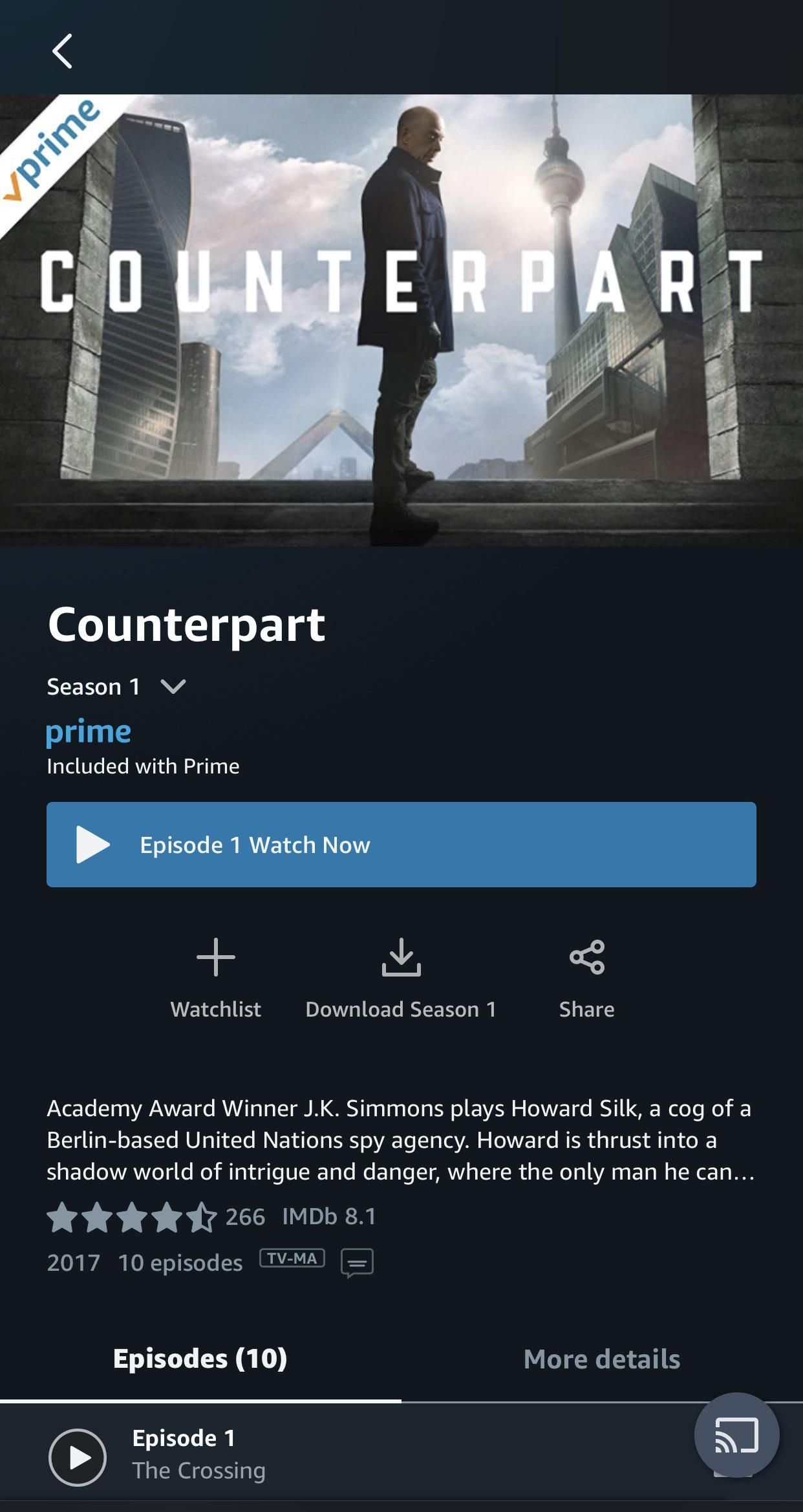 It was removed from starz but both seasons of counterpart