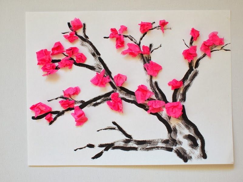 Cherry Blossom Tissue Paper Flower Craft Tree Printable Included