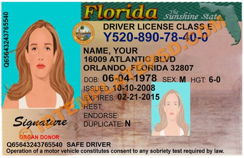 This is Florida (USA State) Drivers License PSD (Photoshop) Template ...