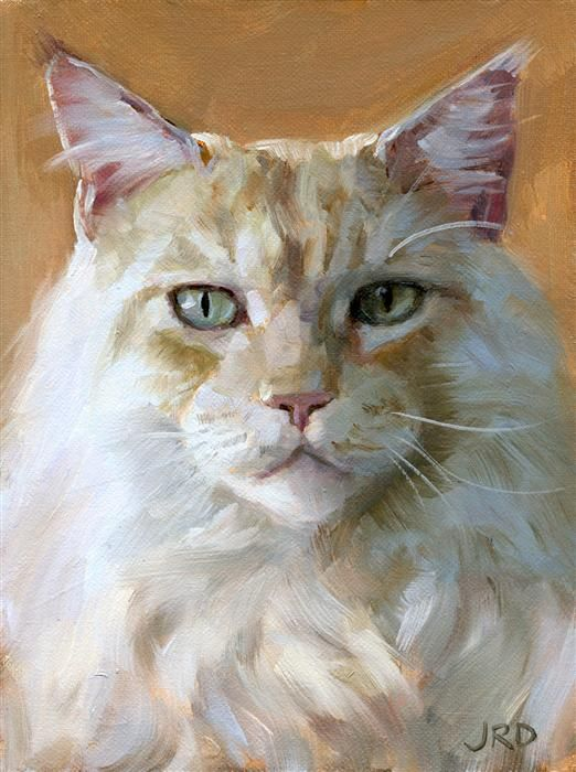 Love this oil painting from ugallery big white cat by j for Cat paintings on canvas