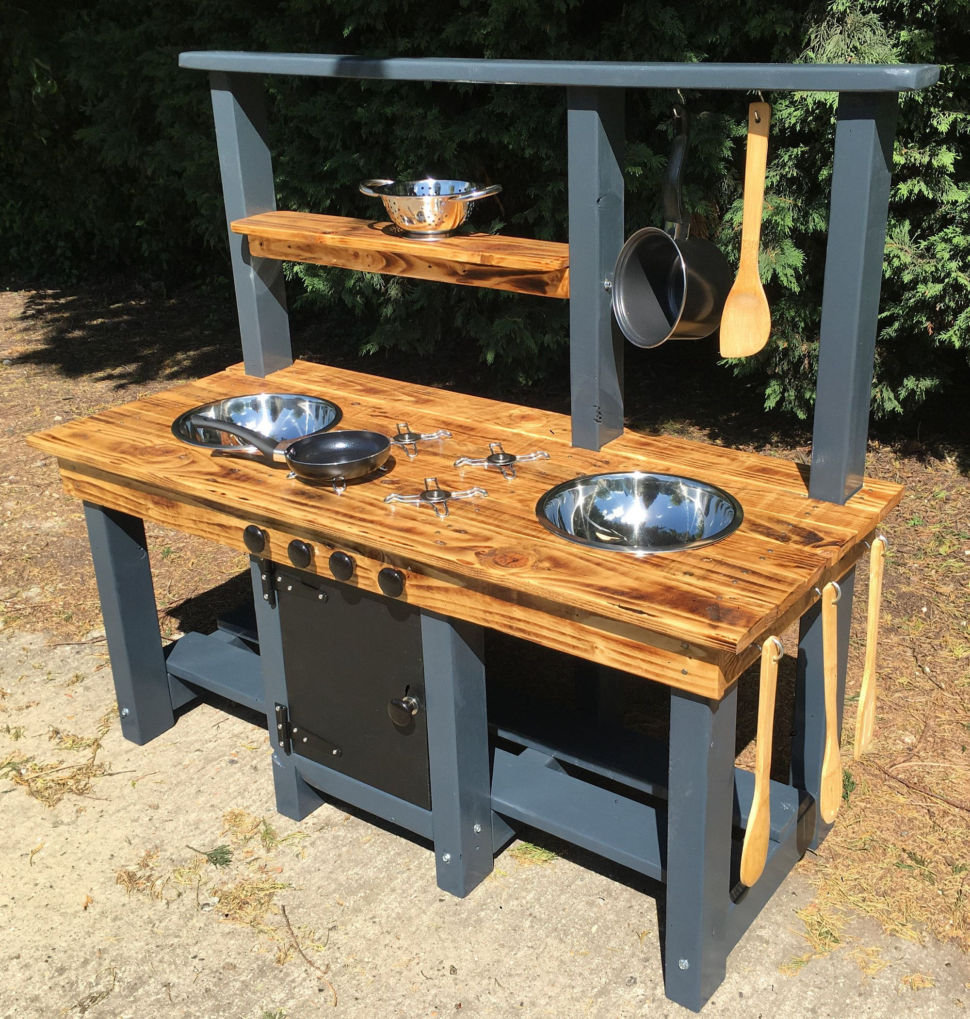 mud kitchen frame made from pressure treated timber es in blue
