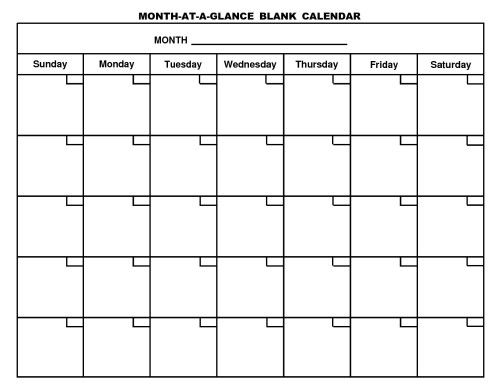 month at a glance blank calendar template.html