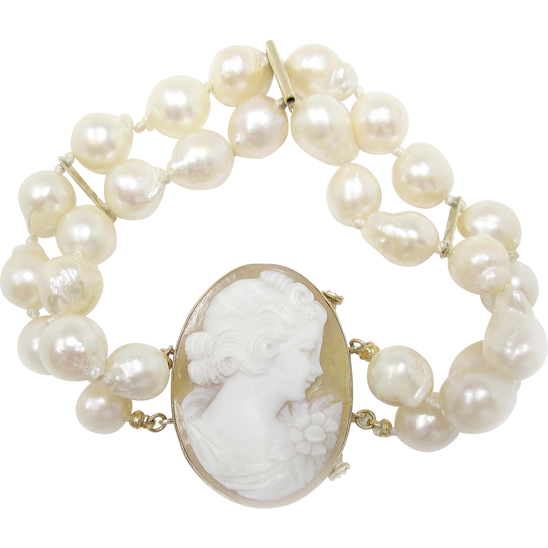 pearl yellow nice baroque very gold pin bracelet cameo