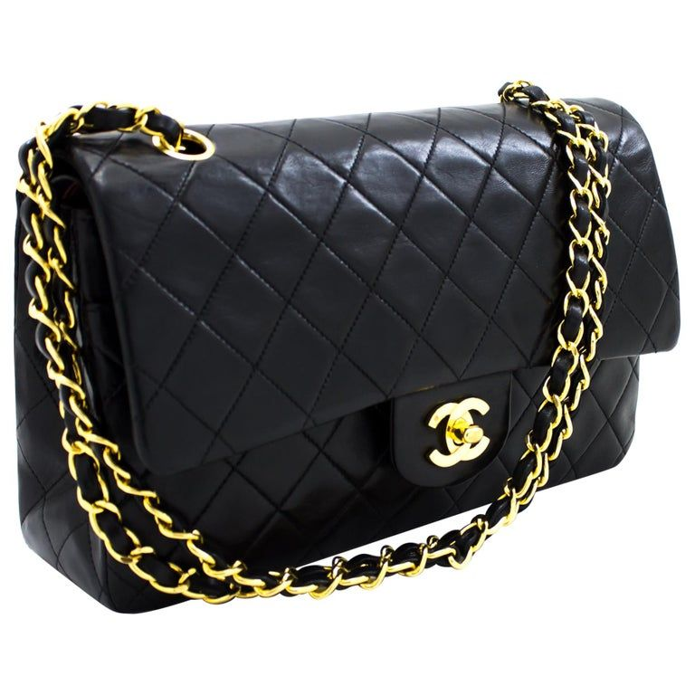 Chanel 2 55 Double Flap 10 Chain Shoulder Bag Black Quilted Lamb Shoulder Bag Black Leather Handbags Chain Shoulder Bag
