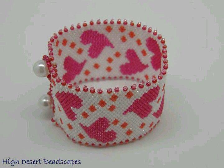 Beaded heart cuff