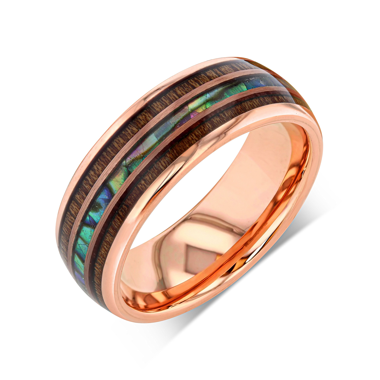 18k rose gold wedding band mens wedding ring opal tungsten