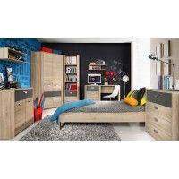 Jugendzimmer Mit Bett 90 X 200 Cm Sonoma Eiche Anthrazit Woody 77