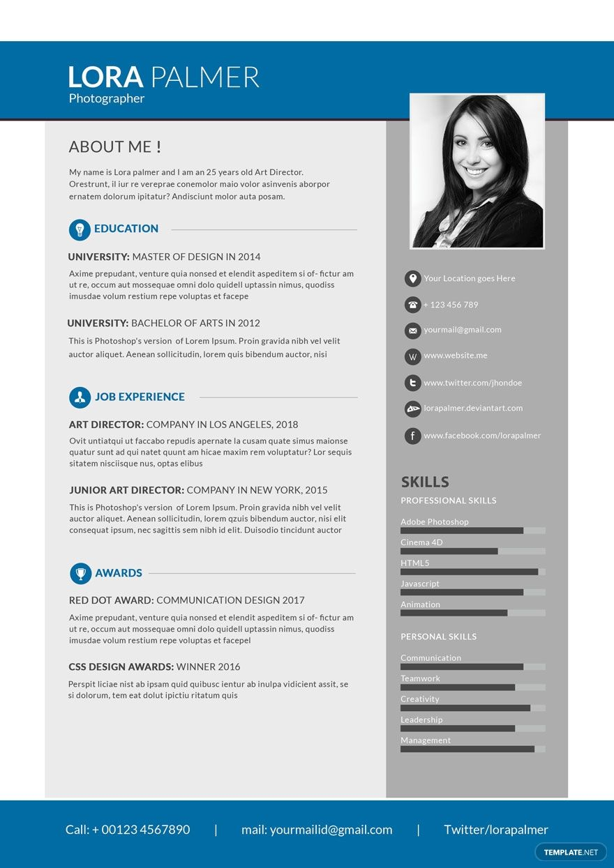 Free Simple Photographer Resume in 2020 Free resume