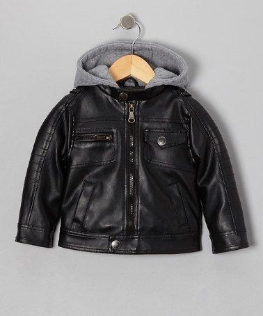 3ba3b9252d56 Black Faux Leather   Fleece Moto Hooded Jacket - Boys