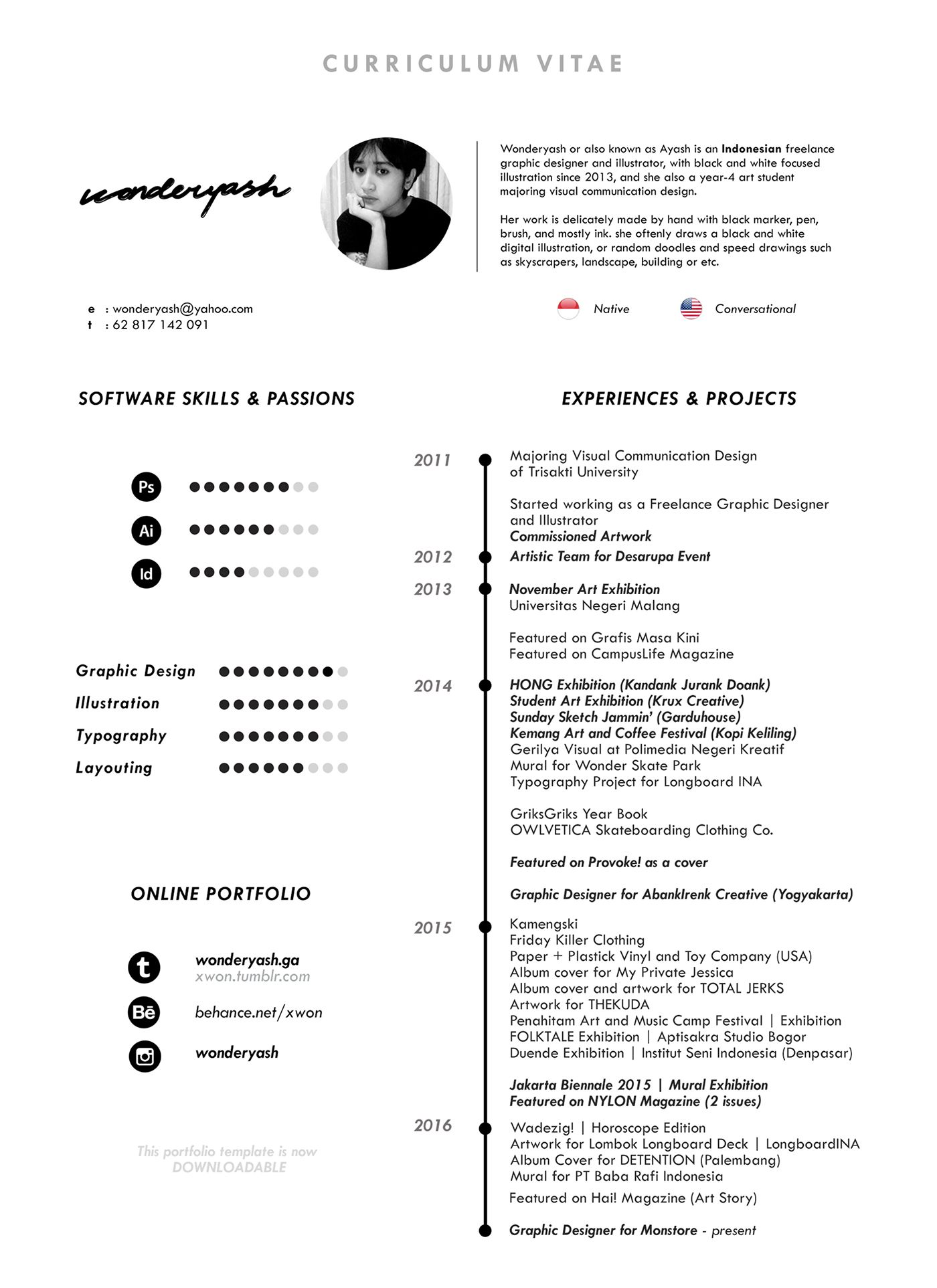 Template Curriculum Vitae Curriculum Vitae Template Available For Downloadon Behance  Cv