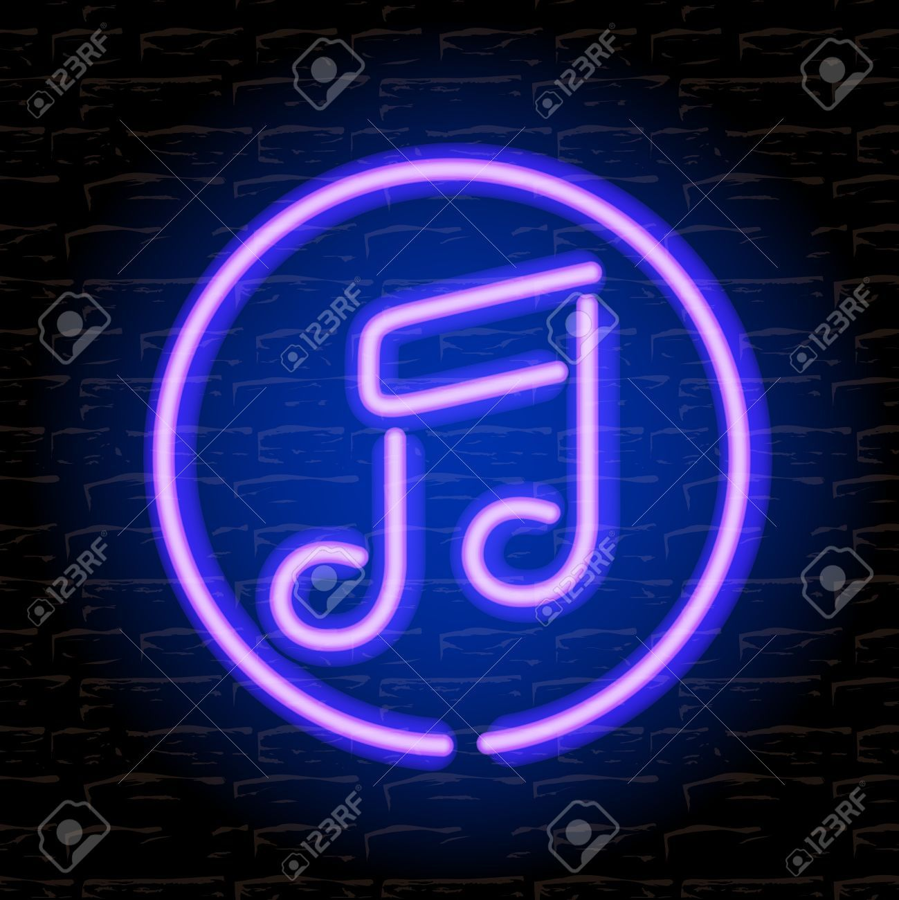 Stock Vector Music signs, Neon, Neon signs