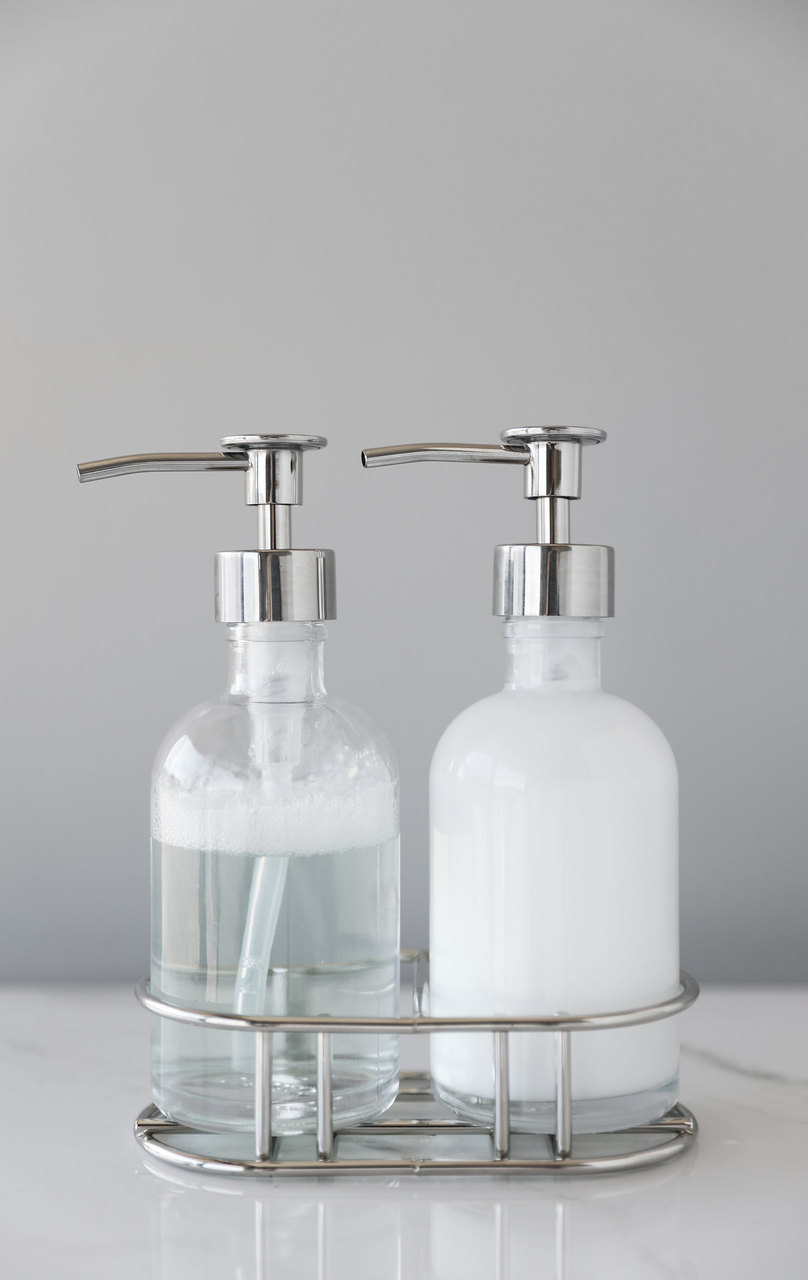 Perfect Pair Glass Clear Soap Dispenser Set With Chrome Caddy