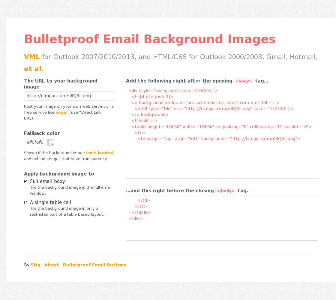 Bulletproof Email Background Images Vml For Outlook 2007 2010 2013 And Html Css For Outlook 2000 2003 Gmail Hotmail Et Al