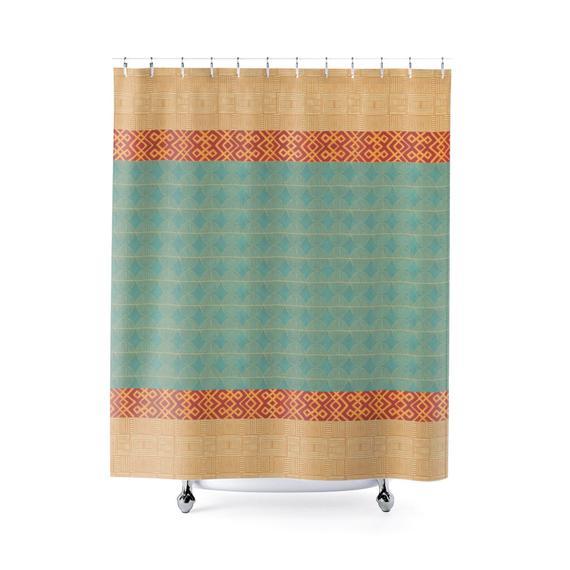 Aztec Shower Curtain Turquoise Orange Bathroom Decor Boho Bath