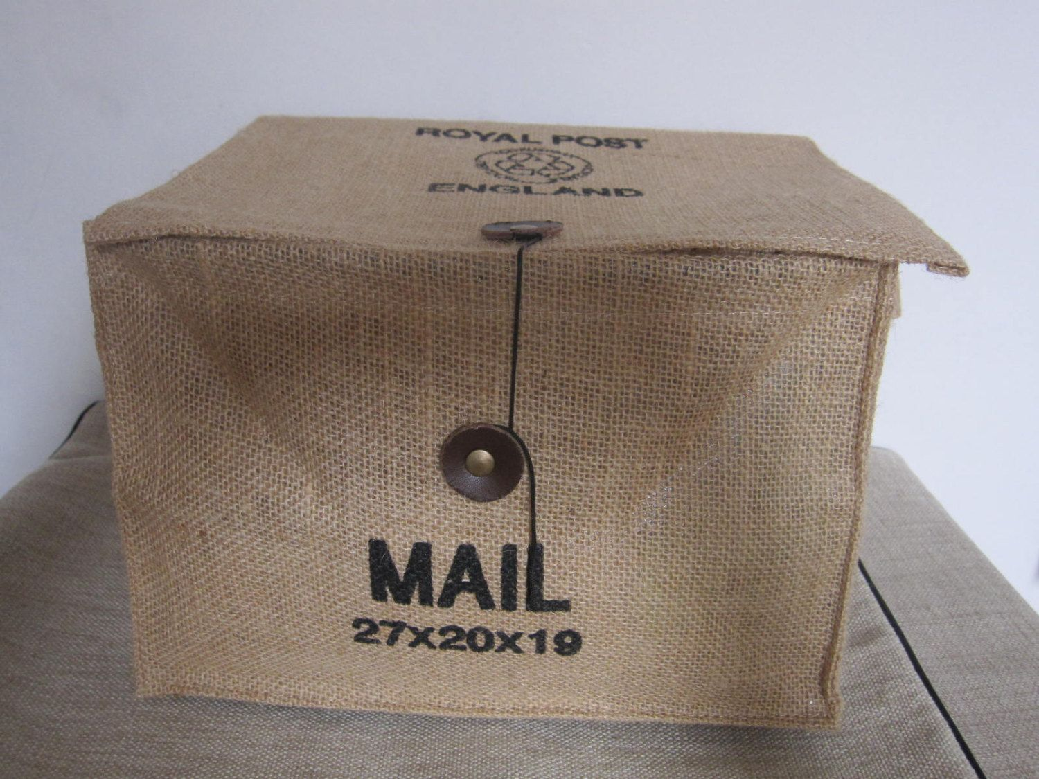 Mail storage 100% natural eco friendly linen Storage bag /Roral  Post England mail storage.