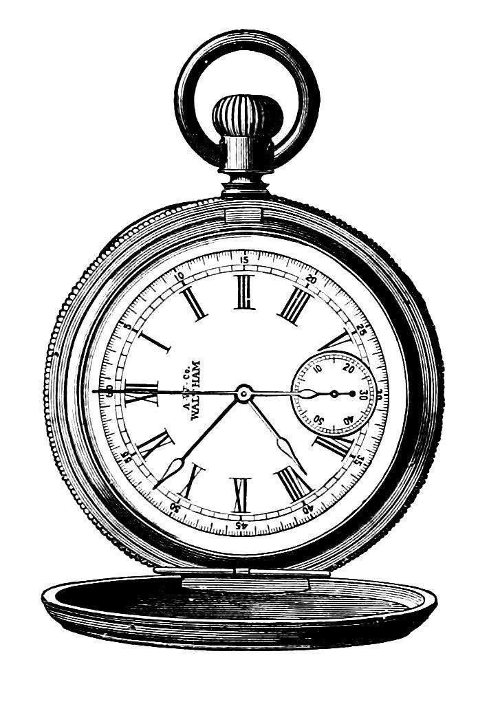 Steampunk Clip Art Watch Gears Clip Art Vintage Art Watch Pocket Watch Drawing