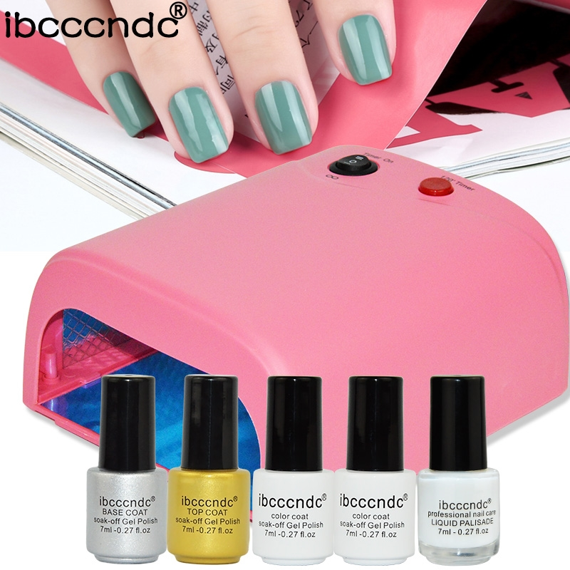 26.59$  Watch here - http://ali0ma.shopchina.info/go.php?t=32788147900 - Newest Manicure Tools Set For Nail Art Design 36W UV Lamp 2 Colors 7ml Gel Polish Base Top Coat Primer with Liquid Palisade Lak  #shopstyle
