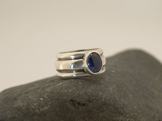 Sapphire Ring Sterling Silver Wide Ring by BelViaggioDesigns, $195.00