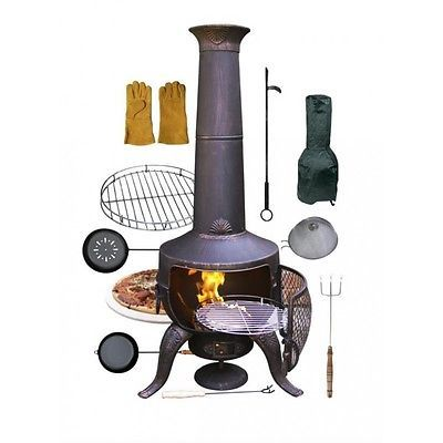 Bbq #black chimenea cooking #bundle, cover, frying pan, popcorn popper, #chestnut,  View more on the LINK: http://www.zeppy.io/product/gb/2/161820954138/