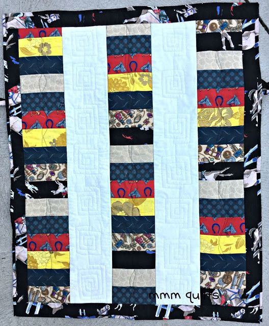 """Musings of a Menopausal Melon - mmm quilts: Wheelchair Quilt, 28""""x36"""", with ties and a pocket on the back"""