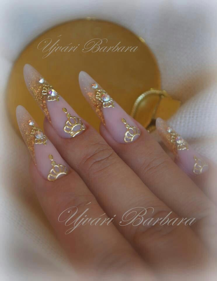 gold and natural filigran pipe c curve tunnel nails | ✌ -> Nails ...