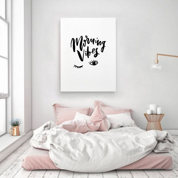 Bedroom Art Printables: Morning Vibes Sleep Handwritten Handlettered Interior