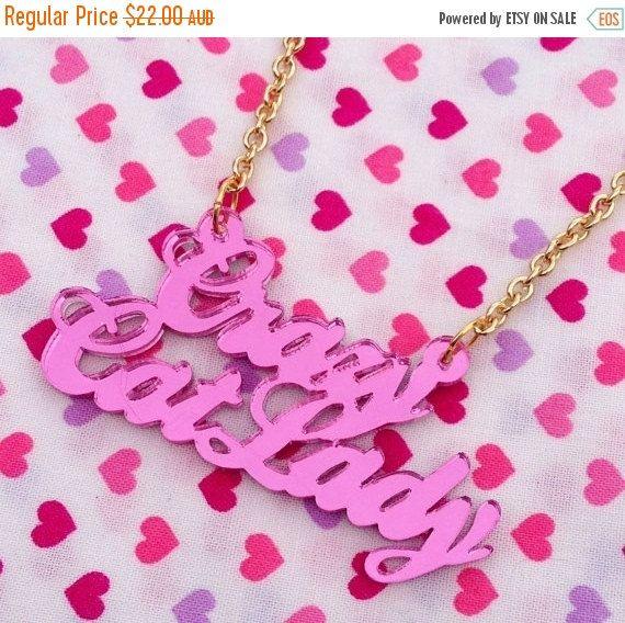 ON SALE Pink CRAZY Cat Lady Necklace