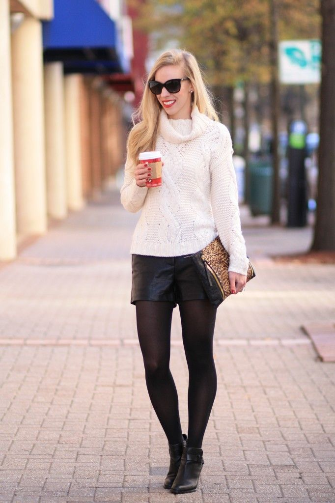 Black & Winter White: winter white cable knit turtleneck sweater, cashmere sweater, oversized sweater and leather shorts, leather shorts with tights and ankle boots, oversized leopard clutch, winter white outfit