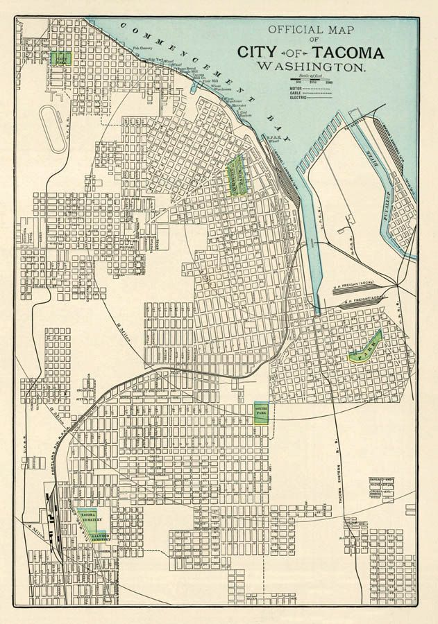 Tacoma map Washington Old map of Tacoma print Fine