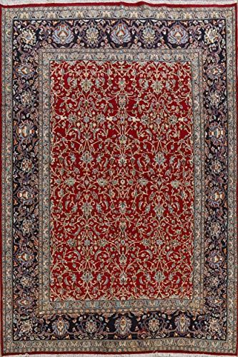 Overall Pattern Floral Kerman Persian Red Handmade Area