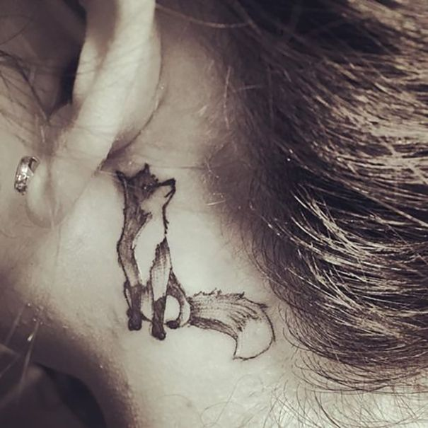 Fox Tattoo Behind Ear Fox Tattoo Design Small Fox Tattoo Fox Tattoo