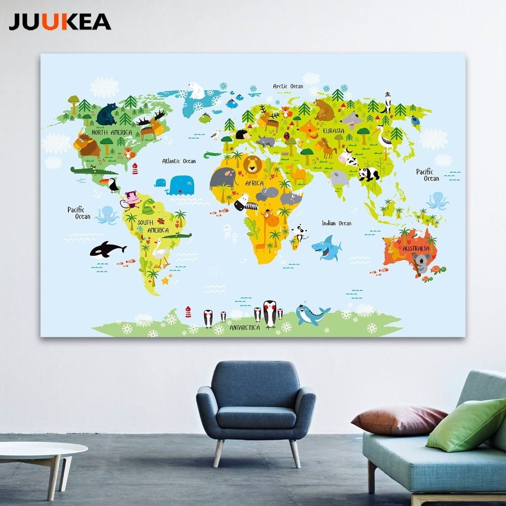 Cartoon children kawaii animals world map canvas print painting cartoon children kawaii animals world map canvas print painting poster wall pictures for kids room gumiabroncs Image collections