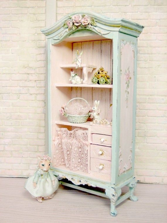 Photo of SOLD -LAST retire 2019 25% sale -French Cottage Fairy Rose cupboard- pink roses – Hand-painted- Jill Dianne Dollhouse Miniature
