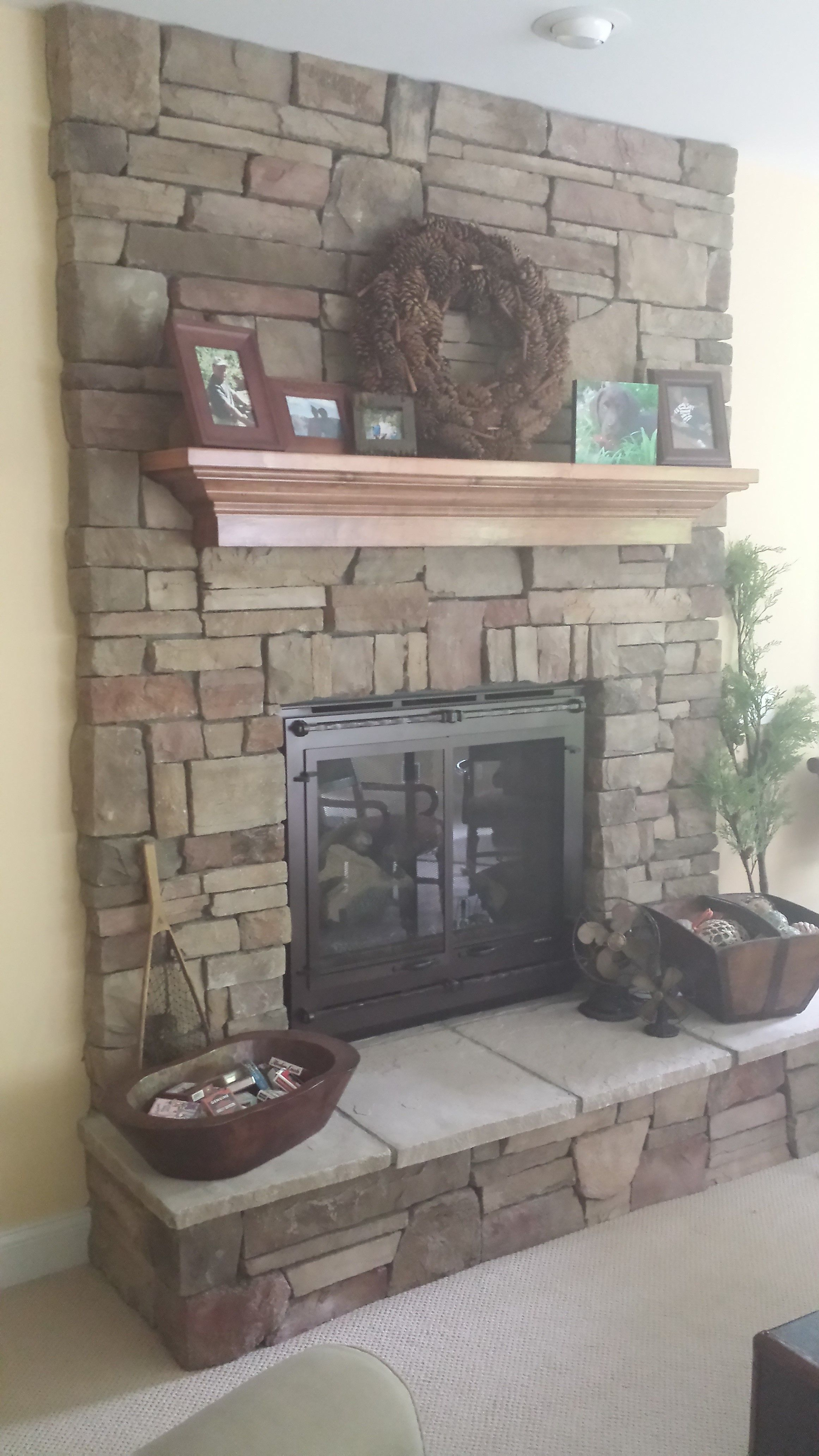 Cultured stone fireplace surround - Chardonnay Country Ledgestone By Boral Cultured Stone With Wood Mantel