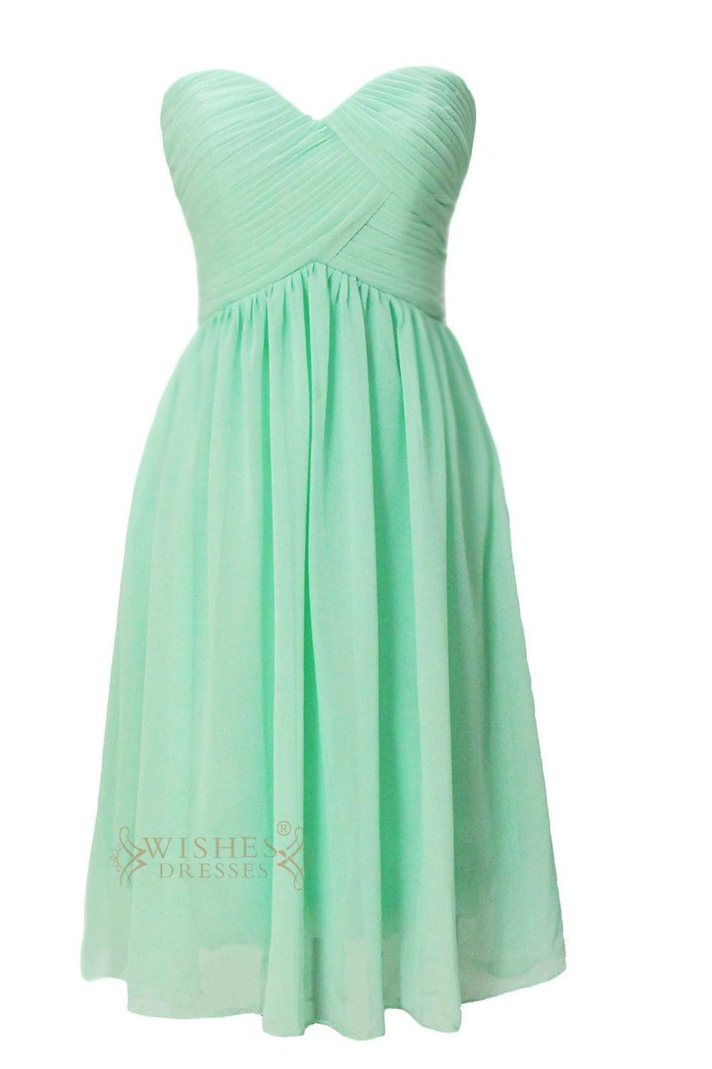 Aline sweetheart mint chiffon knee length bridesmaid dress am