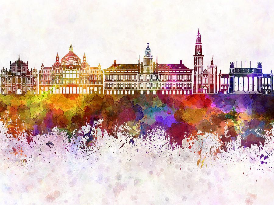 Antwerp Skyline In Watercolor Background Schilderij Aquarellen