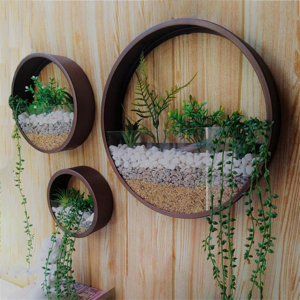 3 Pcs Wall Hanging Planter Metal Holder Indoor Round Wall Etsy In 2020 Metal Flower Pots Hanging Wall Planters Diy Planters