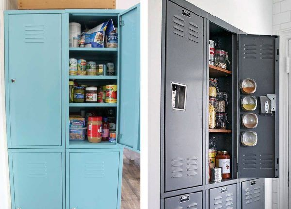 48 easy kitchen storage hacks that will instantly upgrade your life cheap kitchen organization school lockers turned into kitchen pantries workwithnaturefo