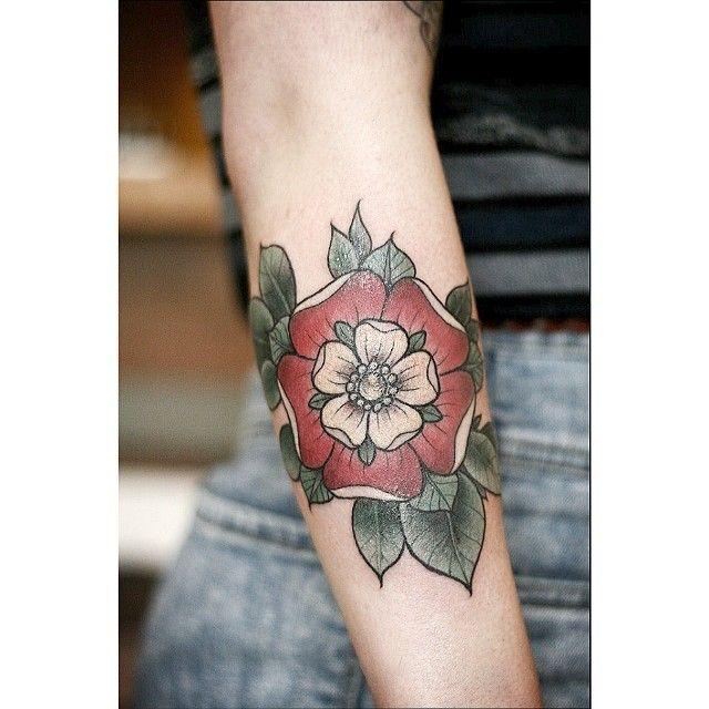 Geometric Tattoos Portland: Tudor Rose By Alice Carrier At Wonderland Tattoos