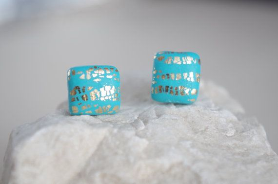 Turquoise Stud Earrings Square Studs Gold