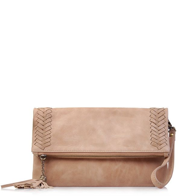 Calgary Natural Leather Clutch