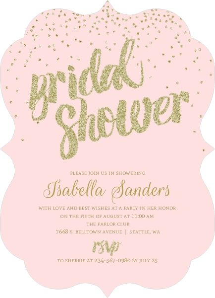 Blush faux gold glitter bridal shower invitation from invite shop easily customize this gold glitter confetti bridal shower ivitation design using the online editor all of our bridal shower invitations design templates filmwisefo